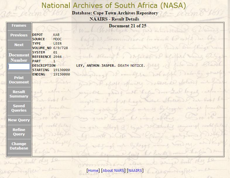 NAAIRS Death Notice Search for Anthon Jasper Ley 1913