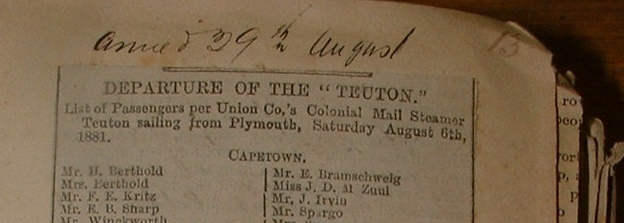 Part of the Teuton Passenger List from the Cape Town Archives