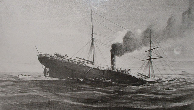 The sinking of the Royal Mail Steamship Teuton Illustration attributed to P H Siems – Courtesy of the National Archives of South Africa : Western Cape Repository